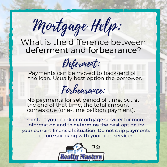 mortgage help assistance deferment and forbearance